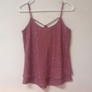Maurice's Pink Lace Tank Top/Blouse